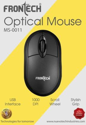 Frontech Optical Mouse MS-0011 Wired Optical Mouse (USB 2.0, Black)